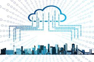 binary cloud illustration raining on city